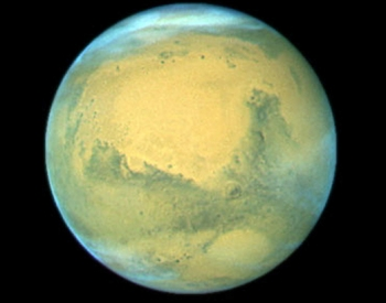 Assembled image of the red planet Mars