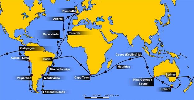 HMS Beagle's voyage, 1831-36 - Credit: Kipala