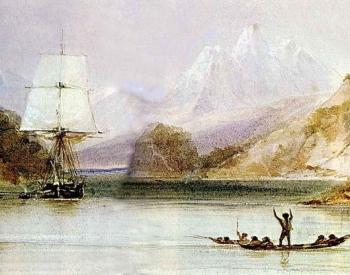 HMS Beagle at anchor Tierra del Fuego.