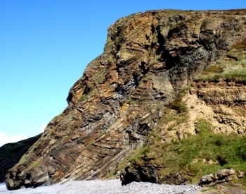 Zig-zag folding of the Carboniferous rocks at Millook, Cornwall, England