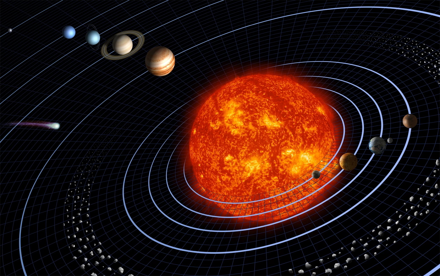 The Law of Gravity maintains the orbits of the planets - Credit: NASA, after Harman Smith and Laura Generosa.